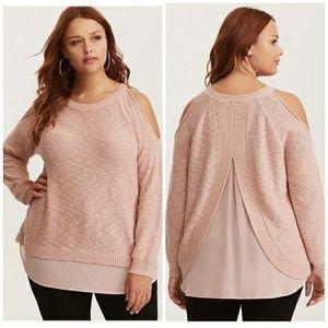 Torrid Blush Cold Shoulder Twofer Sweater